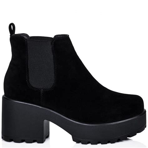 black platform ankle boots buy helixa cleated sole platform chelsea ankle boots black