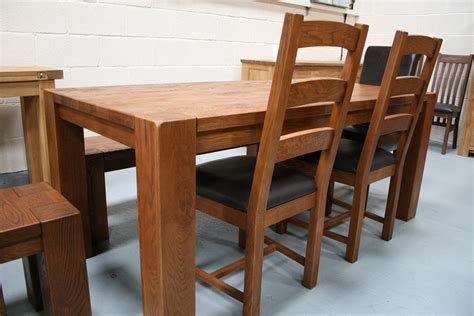 table with chairs and bench boston dark oak dining furniture chunky benches tables