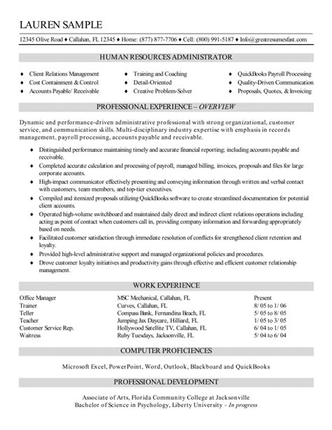 resume format hr admin executive