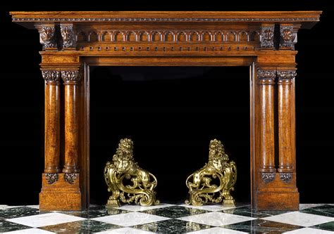 large fireplace mantels antique oak wood jacobean style arts and crafts fireplace surrounded by linenfold panelling
