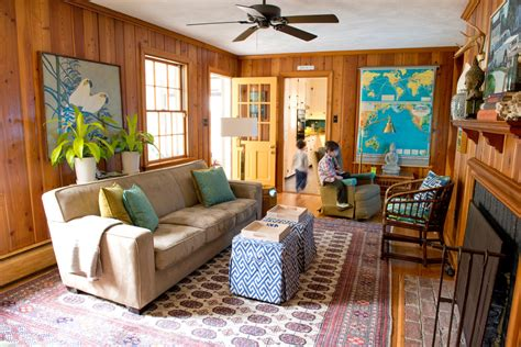 living room with wood paneling diy wall paneling ideas living room eclectic with yellow door split level wood paneling