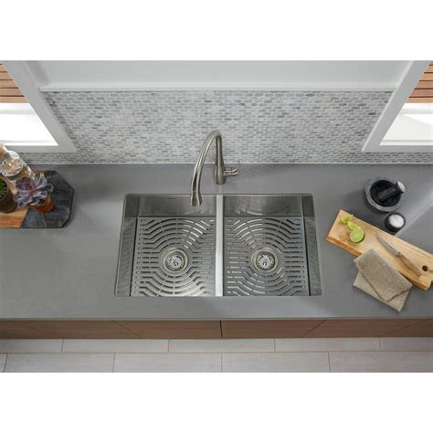 sterling stainless steel kitchen sinks sterling ludington undermount stainless steel 32 in 50 50