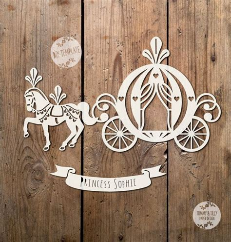 paper cutting templates princess carriage svg pdf dxf png jpg papercutting vinyl