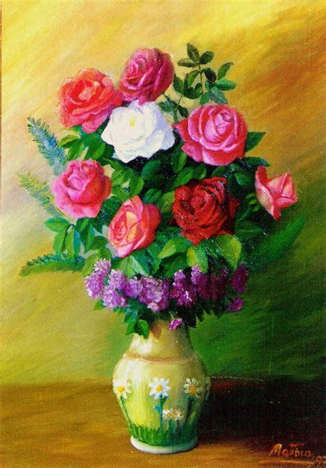 floreros y bodegones en la pintura española florero con rosas matias del rey artelista
