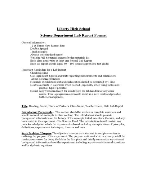 Science Lab Report Template High School Lab Report Format Liberty High School Free