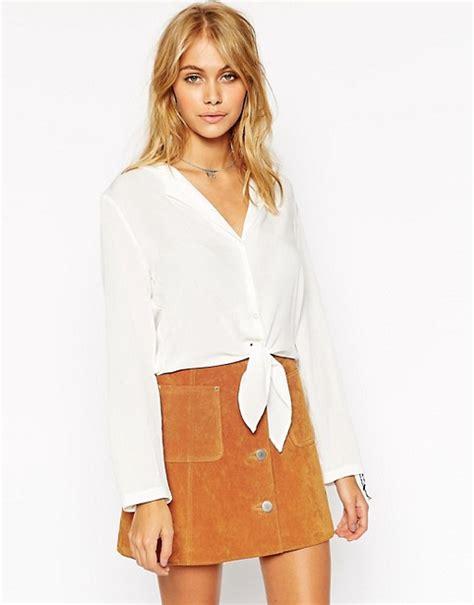 30029 White Tie Blous asos asos tie front blouse