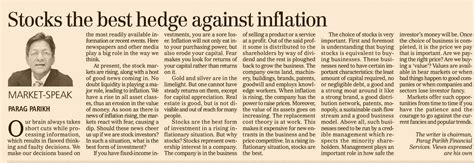 home articles stocks the best hedge against inflation parag parikh