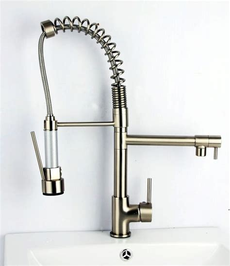 brushed nickel pull out kitchen faucet