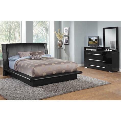 dimora  piece king upholstered bedroom set  media dresser black  city furniture