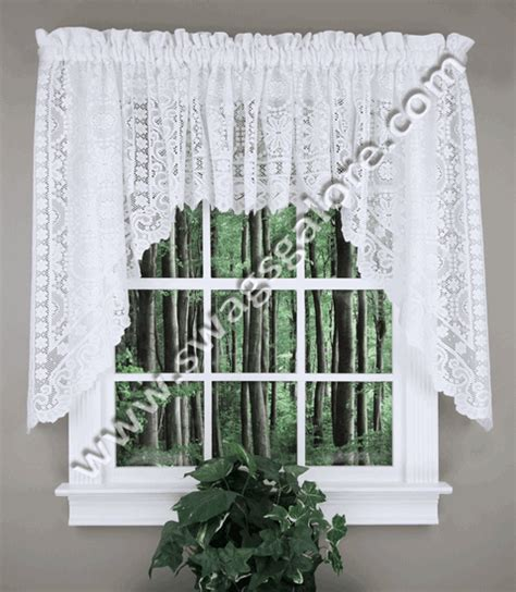 white lace swag curtains new rochelle lace swag white united curtain swag