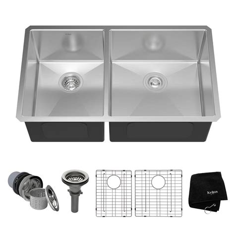 Kraus Undermount Stainless Steel 33 In 60 40 Double Bowl 40 Kitchen Sink