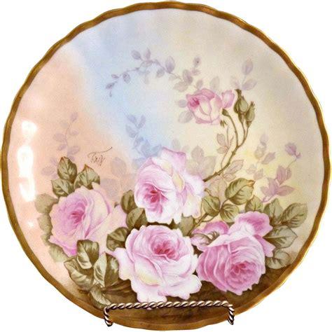 antique porcelain l with roses antique porcelain plate painted limoges c 1910
