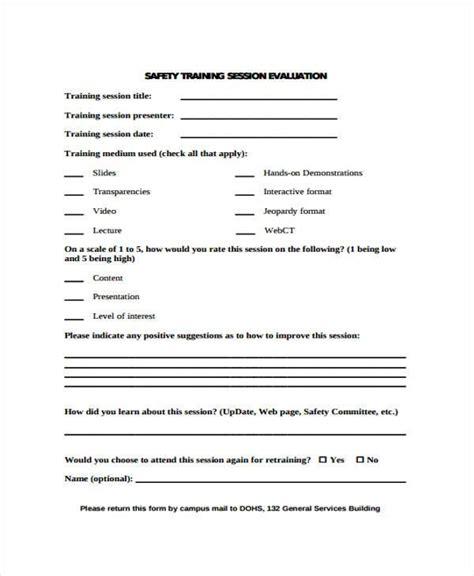 9 training evaluation form sles free sle exle