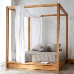 Canopy Bed Frame Wood Contemporary Canopy Bed In Solid Wood By Mashstudios