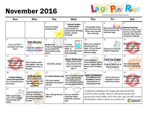 Activity Calendar November Monthly Activity Calendar Laughplayread