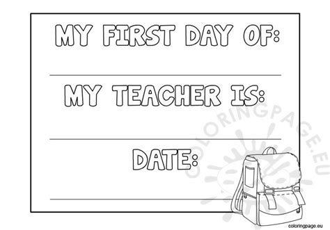 coloring pages first day school first day of school sign coloring page