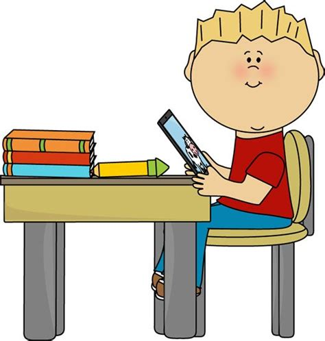 Boy Sitting At School Desk With A Tablet Clip Art Boy Student Sitting At Desk