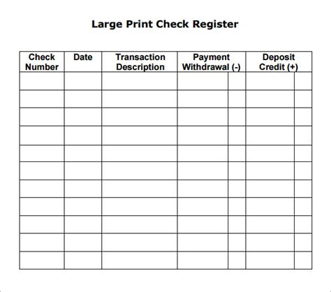free check register template search results for blank check register template