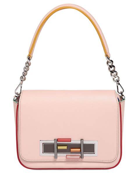 Tas Fendi 3 Baguette fendi 3 baguette chain color trim leather bag in pink lyst