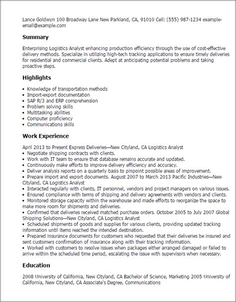Logistics Analyst Sle Resume by Professional Logistics Analyst Templates To Showcase Your Talent Myperfectresume
