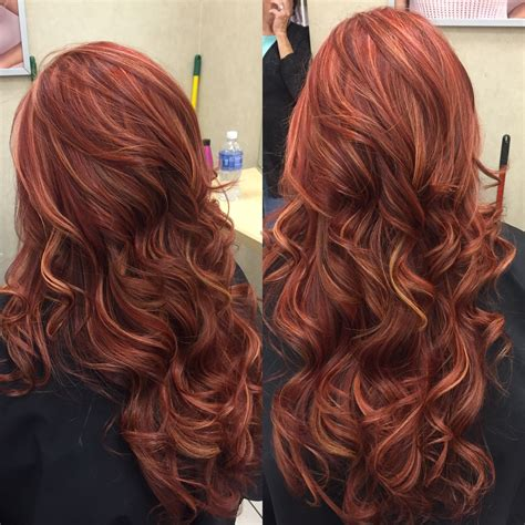 hairstyles blonde with red highlights red base with richer red and blonde highlights hair by