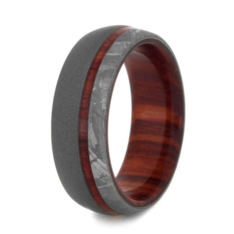 wood wedding band with sandblasted titanium and meteorite