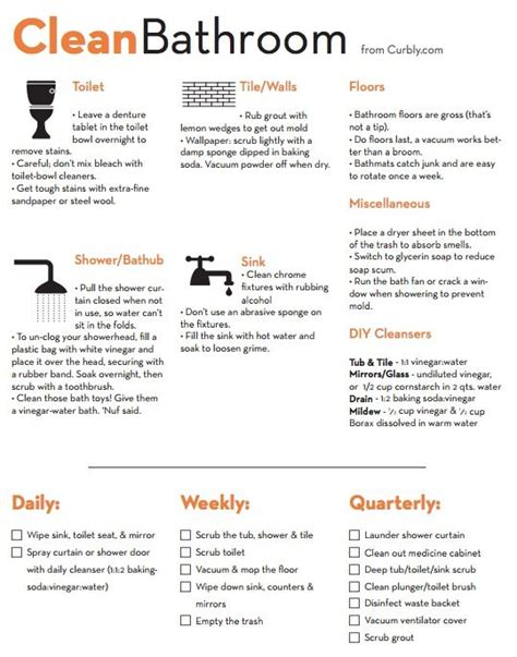 deep clean bathroom checklist bathroom cleaning tips cleansing of the home pinterest