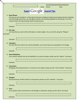 Boolean Search Worksheet by Search Expert Worksheet Research By P3