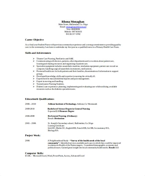 Professional Nursing Resume by 8 Sle Nursing Resumes Sle Templates