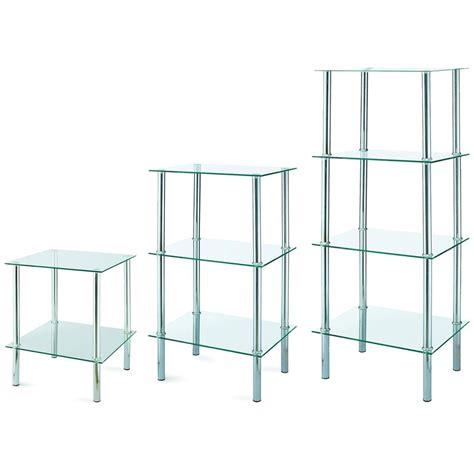 Glass Shelf Unit by 2 3 4 Tier Glass Shelf Unit Clear Shelves Storage Square