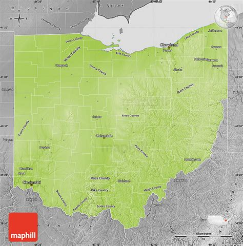 physical map of ohio physical map of ohio desaturated