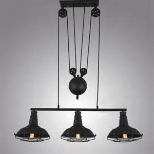 Edison Chandelier E26 E27 Matte Black Three Light Billiard Light With Metal