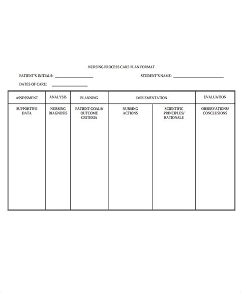 nursing plan template 9 nursing care plan templates free sle exle