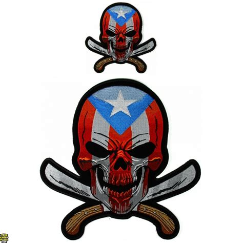 small machetes flag skull with machetes small and large patch set