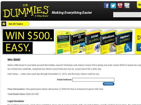 the dummies com sweepstakes - Dummies Com Sweepstakes