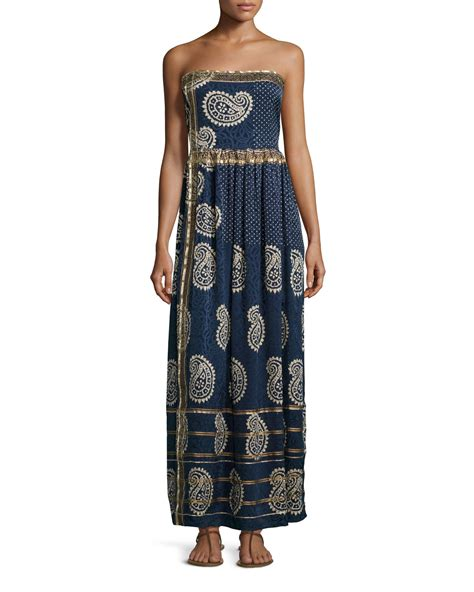 St Cherry Dress Cc calypso st barth rosanna strapless maxi dress in blue lyst