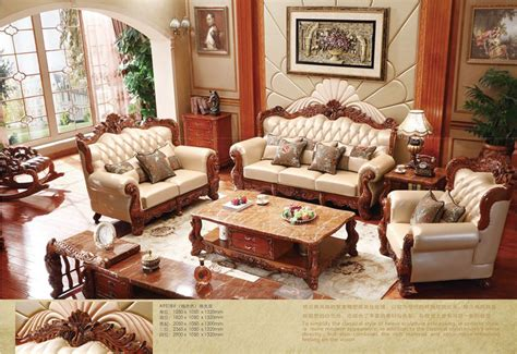 Aliexpress Com Buy Turkish Brown And White Full Leather Solid Oak Living Room Furniture Sets