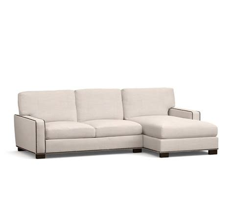 Square Sectional Sofa Turner Square Arm Upholstered Sofa With Chaise Sectional With Nailheads Pottery Barn