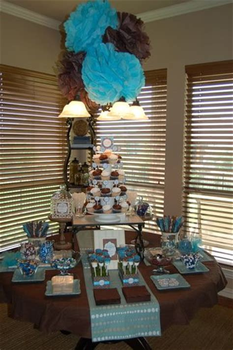 Blue And Brown Baby Shower Table Ideas Photograph Give - birds baby shower ideas blue brown showers and