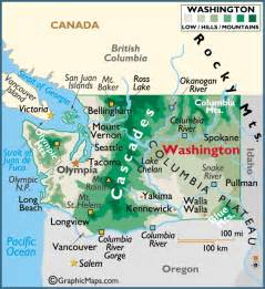 map of washington state and canada washington large color map