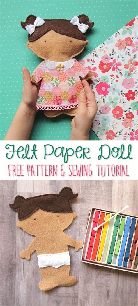 diy cute felt doll free sewing pattern and step by step so stinkin cute this diy felt paper doll free sewing