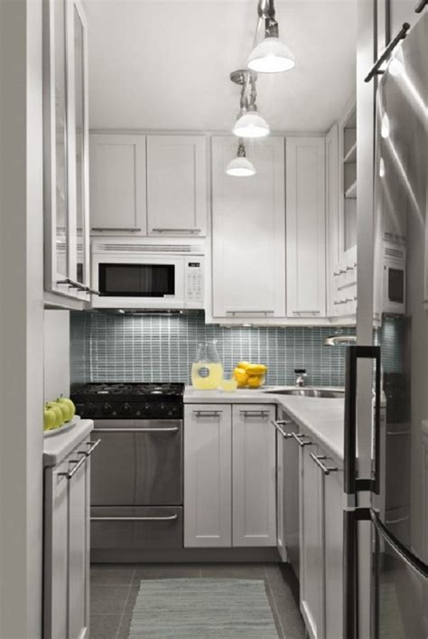 Small Kitchen With White Cabinets Small Kitchen Design Ideas Spotlights White Cabinets Grey Backsplash Grey Mat Grey Oven Cabinets