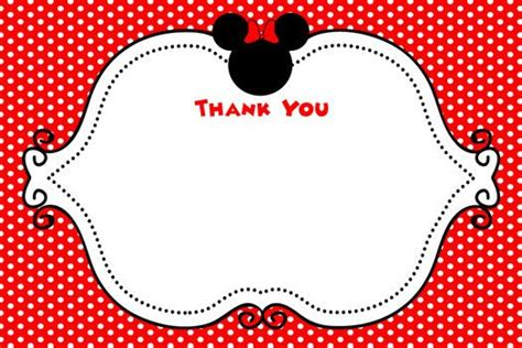 Minnie Mouse Thank You Card Template by Minnie Mouse Inspired Thank You Card Minnie Mouse
