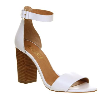 Shasha Heels office block heel sandalss white leather high heels