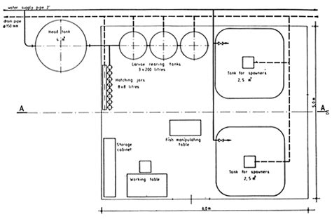 layout of hatchery construction of trout and carp hatcheries