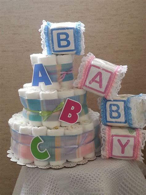 How To Make Baby Shower Centerpieces With Diapers by 3 Tier Cake Abc Alphabet Baby Shower Gift