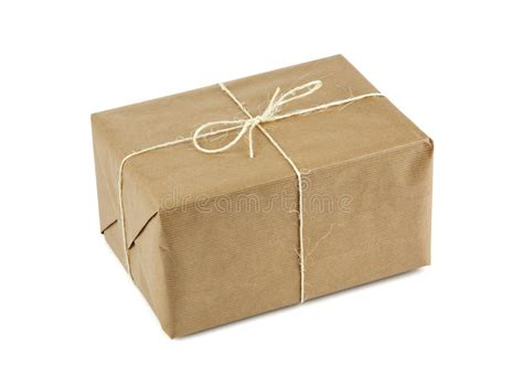 Parcel Paket Parcel U brown parcel up with string isolated on white stock