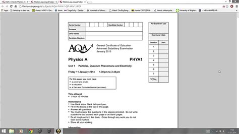 Physics Unit 1 Jan 2013 Past Paper Introduction Youtube