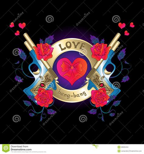 logo with a gun and roses red hearts stock images image