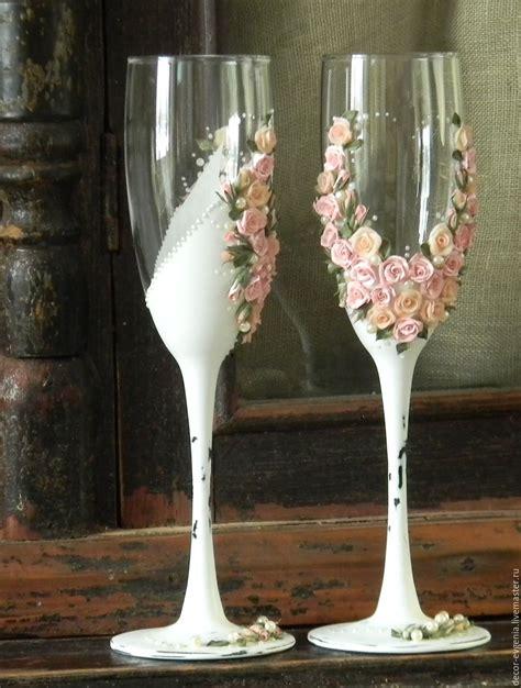 Mug Gelas Custom Shabbychic shabby chic wedding toasting glasses rustic toasting flutes roses shop on livemaster